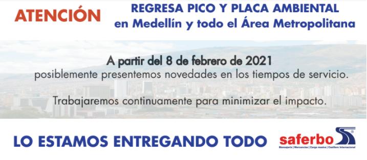 Regresa el pico y placa ambiental en Medellín y todo el área Metropolitana
